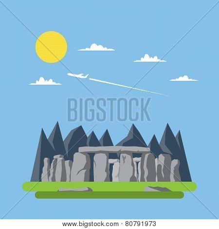 Flat Design Og Stonehenge England