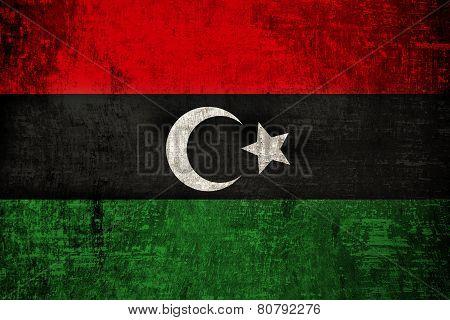 Libya Flag on old wood