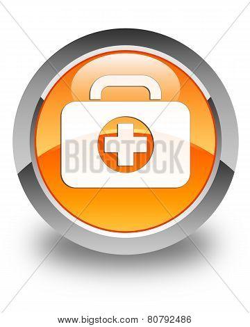 First Aid Kit Icon Glossy Orange Round Button