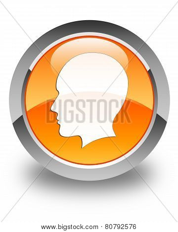 Head (woman Face) Icon Glossy Orange Round Button