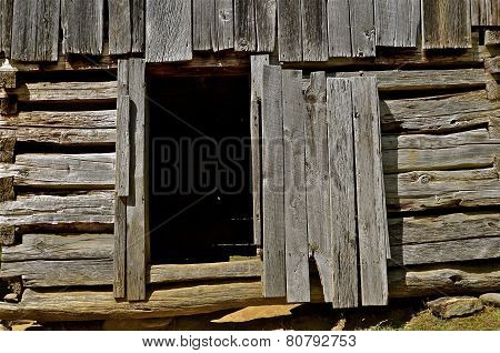 Door of a log shed
