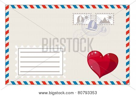 Blank envelope with heart and brands ready to ship, vector illustration