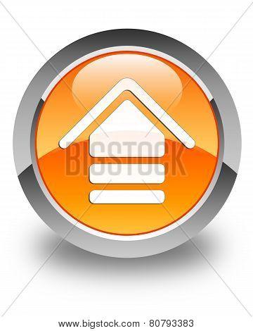 Upload Icon Glossy Orange Round Button