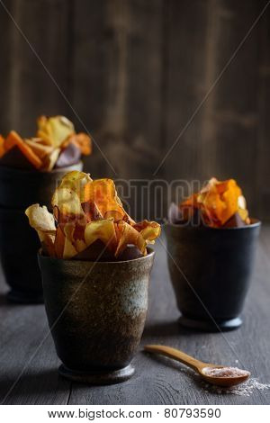 Root vegetable crisps with sea salt