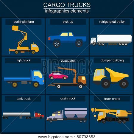 Set Of Elements Cargo Transportation: Trucks, Lorry For Creating Your Own Infographics Or Maps