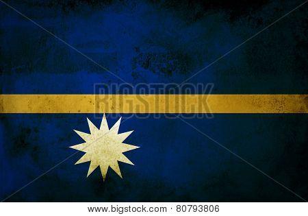 Nauru Flag on old paper