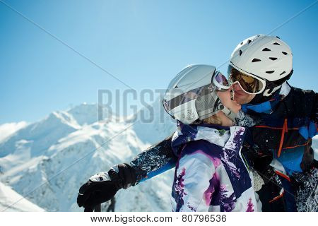 Young couple inwinter vacation