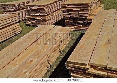 Stacks of rough sawed lumber