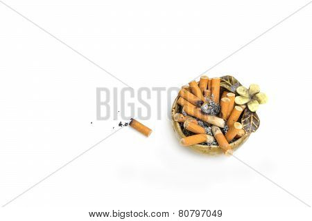 Arhtray With Full Of Cigarettes