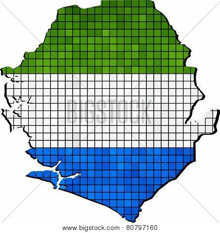Sierra Leone Map With Flag Inside
