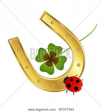 ladybird, horseshoe and shamrock leaf