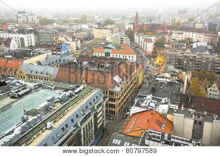 WROCLAW, POLAND - NOV 6, 2014: Top view of Wroclaw old town from the top of the tower of the church of Saint Elizabeth. Wroclaw is going to be European Capital of Culture in 2016.