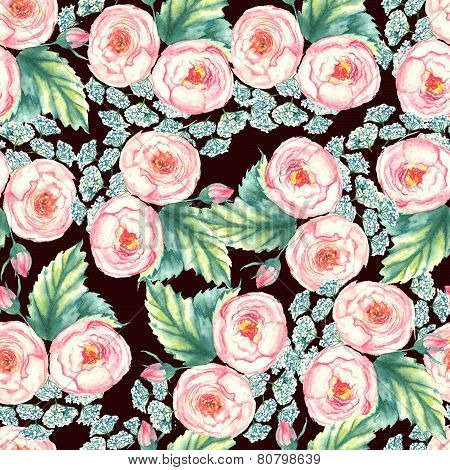 Hand drawn watercolor floral seamless pattern with tender pink roses in vector on the dark backgroun