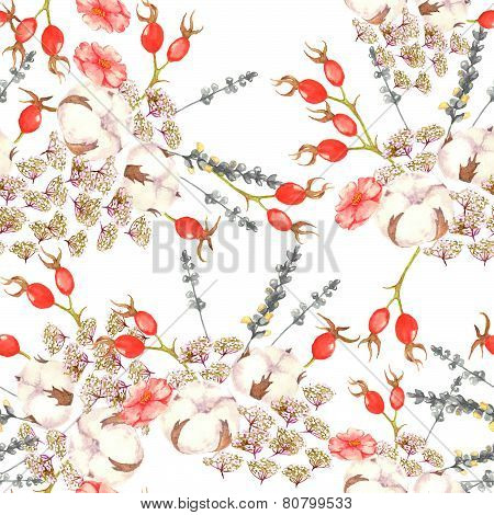 Hand drawn watercolor floral seamless pattern with tender flowers, cotton and brier red berries in v
