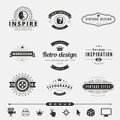image of studio  - Retro Vintage Labels Logo design vector typography inspiration template set - JPG