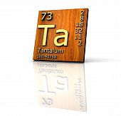 Tantalum Form Periodic Table Of Elements - Wood Board poster