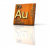 Gold Form Periodic Table Of Elements - Wood Board poster