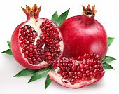 image of pomegranate  - pomegranates with leaves on a white background - JPG