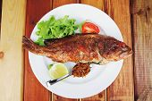 pic of plate fish food  - main portion of two grilled fish served on plate with tomatoes and spices - JPG