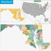 stock photo of maryland  - Map of Maryland state designed in illustration with the counties and the county seats - JPG