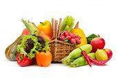picture of indian apple  - assortment vegetables and fruits in basket isolated on white background - JPG