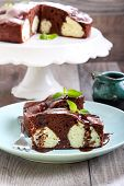 pic of cake-ball  - Chocolate cake with coconut cheese balls on plate - JPG