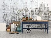 stock photo of work bench  - 3D Rendering of Interior of an artist or designer studio with blank canvasses - JPG