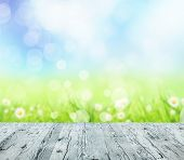 image of spring-weather  - Spring abstract background with wooden planks and blurry background - JPG