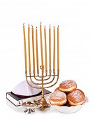 stock photo of hanukkah  - Festive composition for Hanukkah isolated on white - JPG