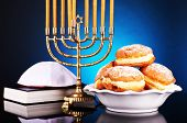 picture of hanukkah  - Festive composition for Hanukkah on dark background - JPG
