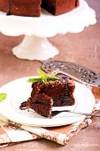 foto of torte  - Prune and chocolate torte slice - JPG