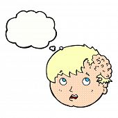 image of ugly  - cartoon boy with ugly growth on head with thought bubble - JPG