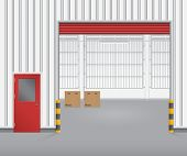 image of red siding  - Illustration of shutter door and steel door outside factory red color - JPG