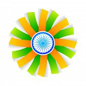 stock photo of indian flag  - indian flag style design with wheel at the center - JPG