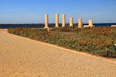 image of promontory  - Column ruins of Herods promontory palace in Caesarea Maritima National Park - JPG