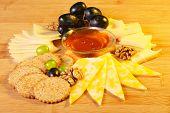 stock photo of cheese platter  - Cheese platter - JPG