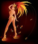 image of beauty pageant  - A beautiful carnival girl wearing a festival costume is dancing - JPG