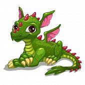 picture of dragon head  - Cute cartoon green dragon - JPG