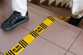 stock photo of investigation  - Do not cross sign forensic line investigation in progress - JPG