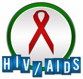 stock photo of std  - HIV Aids concept image with red ribbon and text under it - JPG