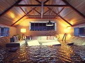 picture of attic  - flooding  modern interior loft in the evening - JPG