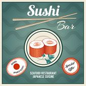 image of chopsticks  - Seafood sushi bar japanese cuisine restaurant retro poster with fish rolls and chopsticks vector illustration - JPG