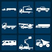image of tank truck  - Set of nine icons of trucks - JPG