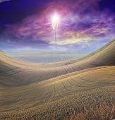 foto of biblical  - Figure of Light Appears in Sky over Beautiful Landscape - JPG