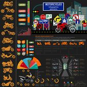 picture of dragster  - Set of motorcycles elements transportation infographics - JPG