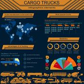 picture of dumper  - Cargo transportation infographics trucks lorry - JPG