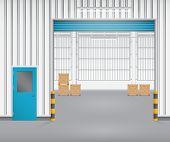stock photo of roller shutter door  - Illustration of shutter door and factory blue color - JPG
