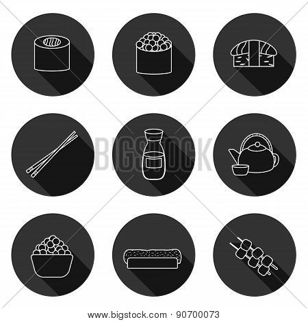 Set of simple icons with japanese cuisine objects