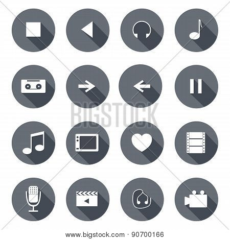 Set of flat multimedia icons