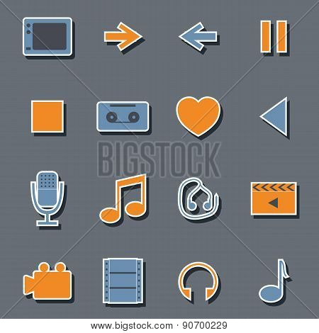 Set of flat multimedia stickers